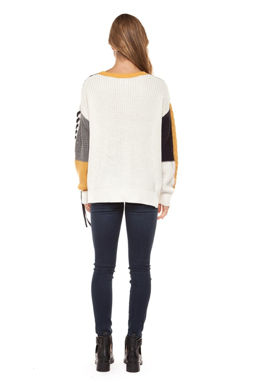 Dex long sleeve color block cabel knit sweater with lace-up trim (Back view)