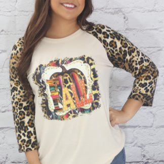 Fall leopard sleeve T-shirt