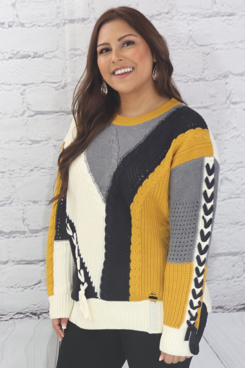 Women Lace Color Block Long Sleeve V-Neck Pullover C