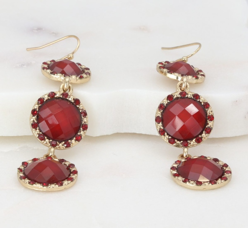 Red faceted tri-disc dangle earrings