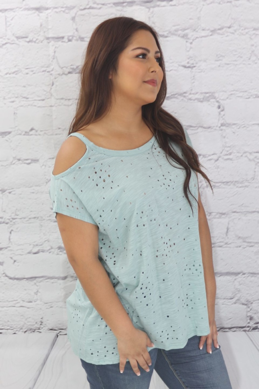 Short sleeve cold shoulder top with punch modal fabric side view