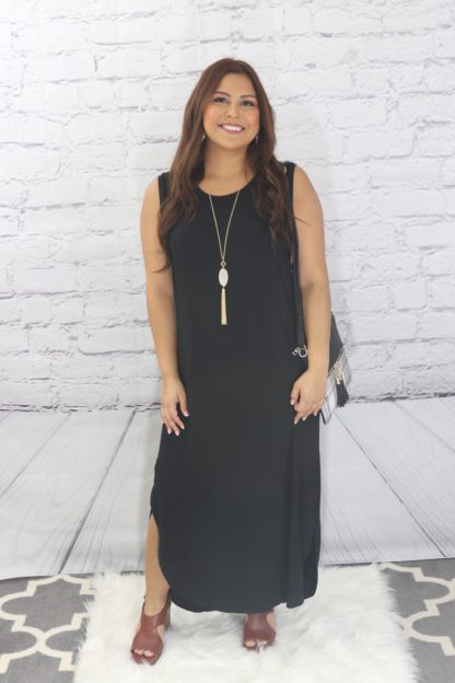 Solid Maxi Dress With Side Slits