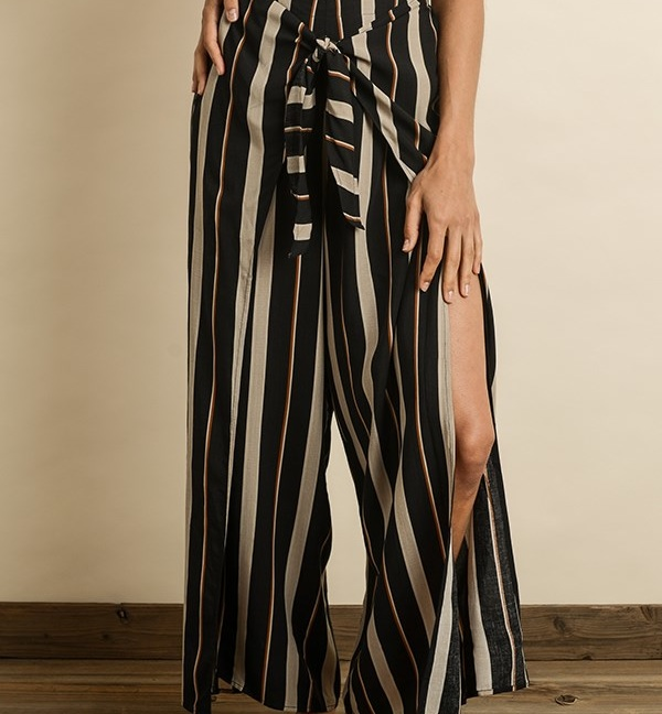 Striped knot front pants