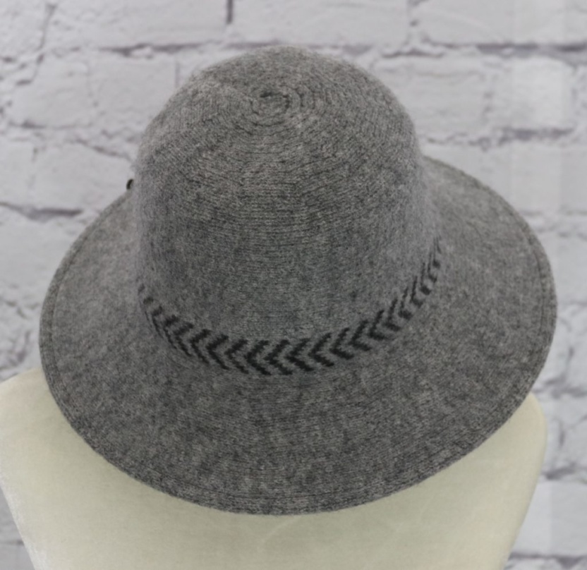 Stylish wool cloche hat with tucked tie rope (gray)