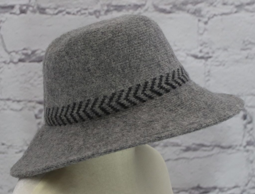 Stylish wool cloche hat with tucked tie rope (gray) side