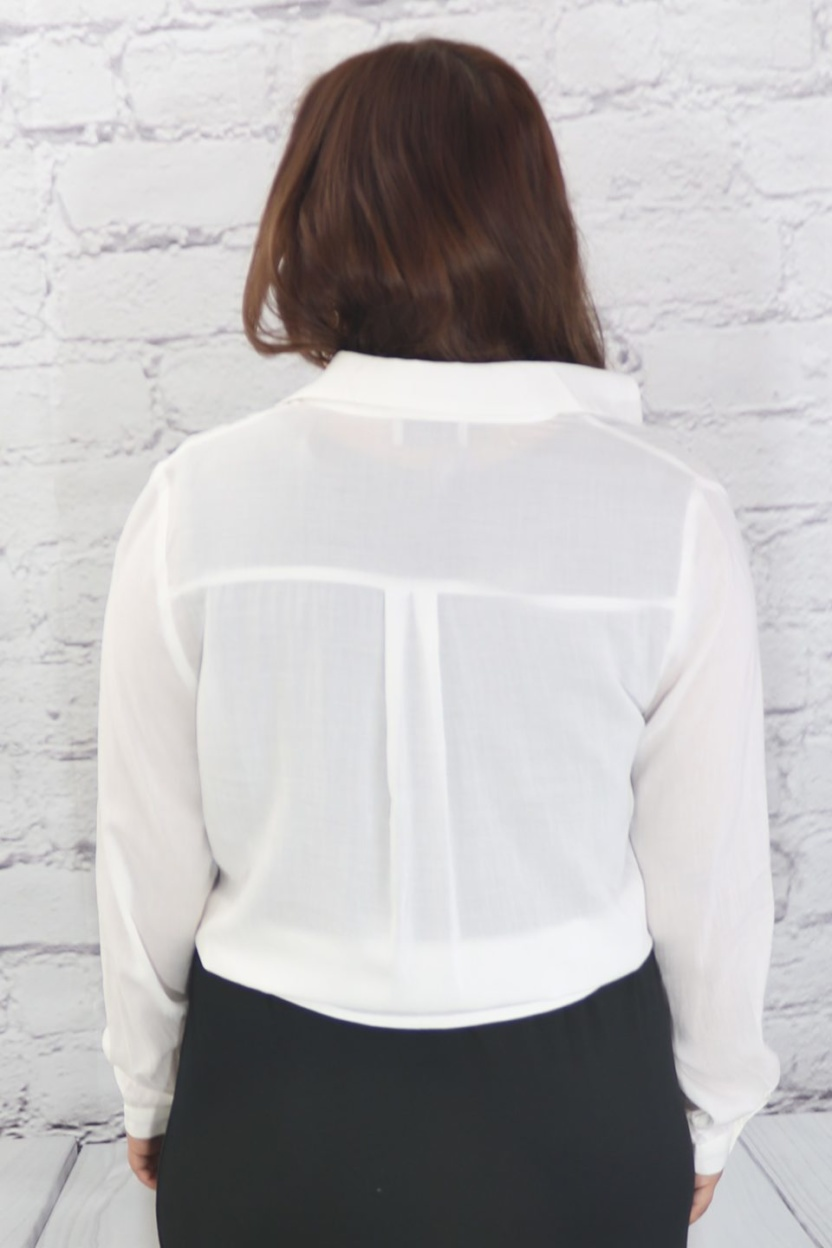 Tie front back blouse rear view