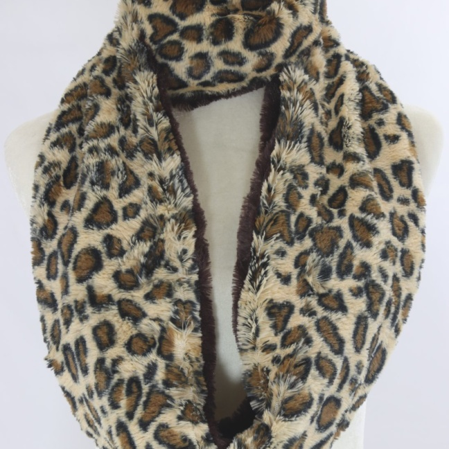 Animal print fur infinity scarf