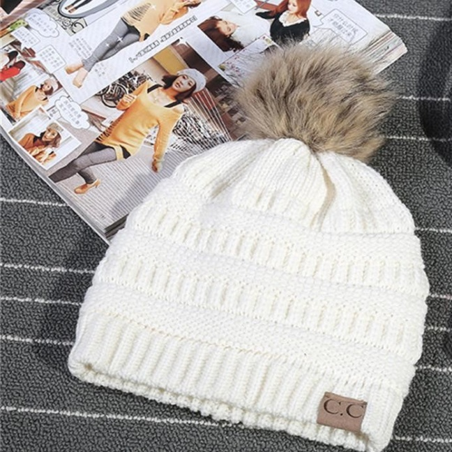 CC Skullies fashion knit toboggan hat white