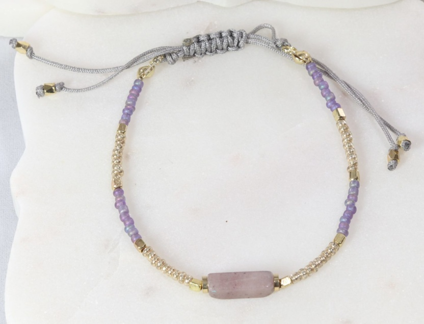 Colorful beaded bracelet with colored stone and adjustable cinch cord