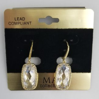 Faceted faux-diamond earring with gold rope trim