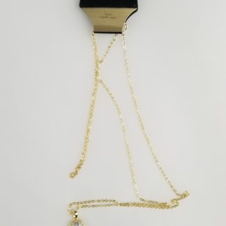 Faceted faux-diamond necklace with golden rope trim and linked chain tassel
