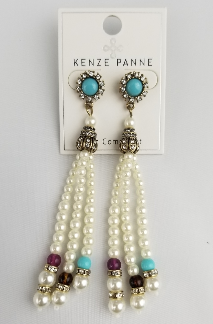 Faux-pearl and decorative bead earrings