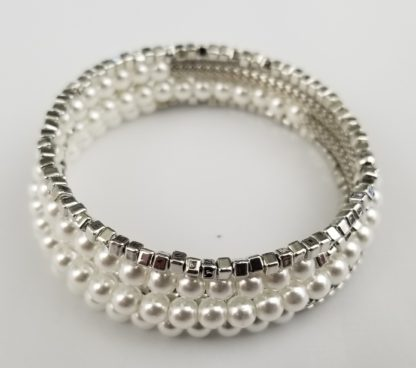 Faux pearl and silver beaded and box chain bracelet