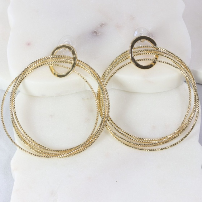 Five-hoop rigid snake-chain earring