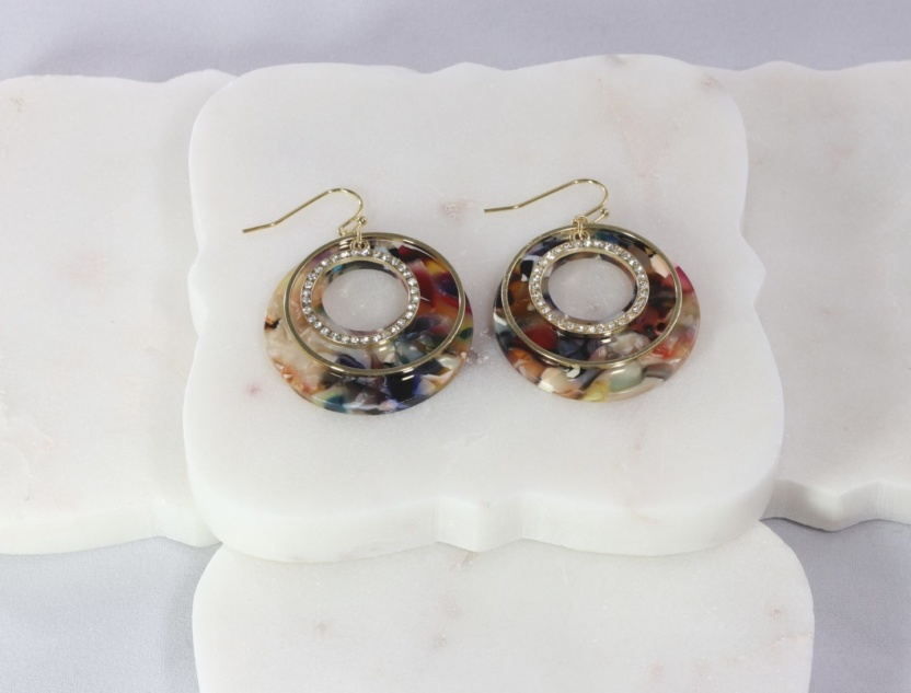 Gold ring, CZ embedded ring, acetate disc earring