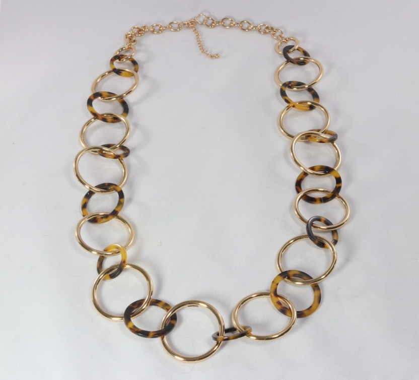 Gold and speckled acetate ring necklace