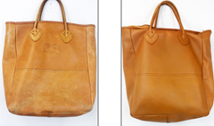 Leather purse - before and after conditioning