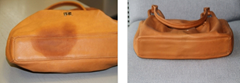 Purse with grease stain - before and after (Shukey Services)