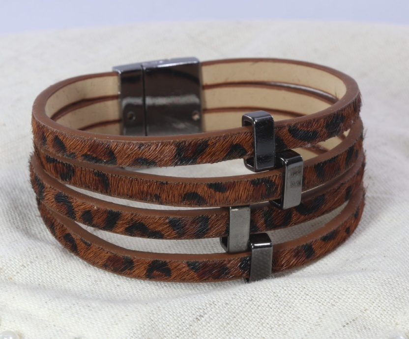 Leopard print faux-leather bracelet with magnetic clasp