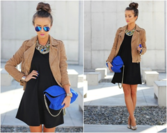 Little Black Dress ( LBD) with blue accessories