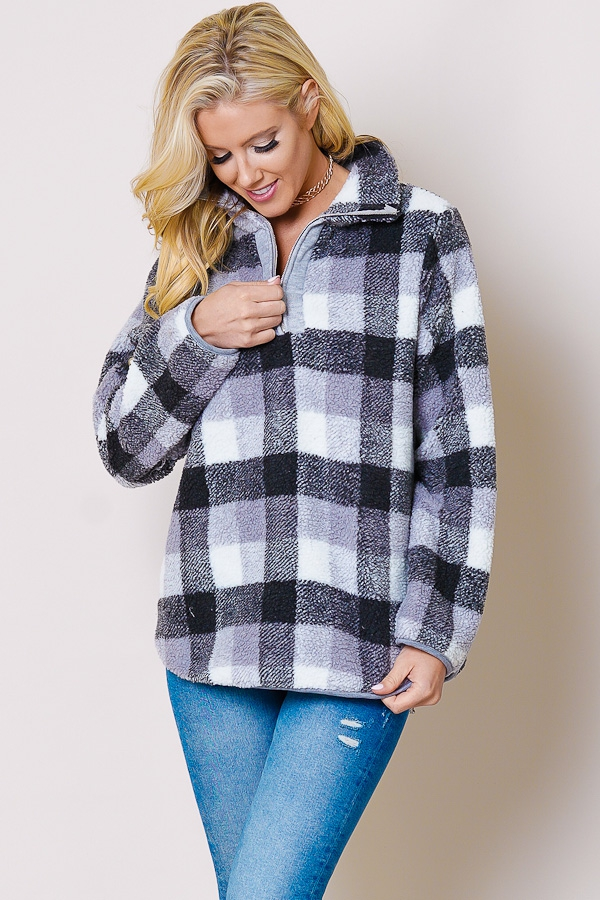 Plaid collared zip-up neck long sleeve sherpa gray