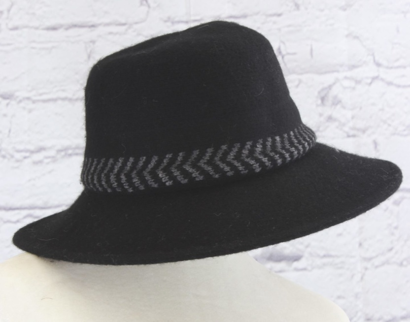 Stylish wool cloche hat with tucked tie rope