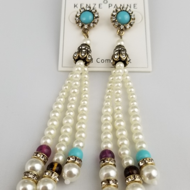 Turquoise faux-pearl and decorative bead earrings