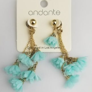 Turquoise glowers and golden chain earrings