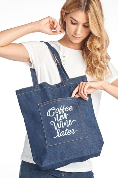 Coffee Now Water Later canvas tote bag denim hanging