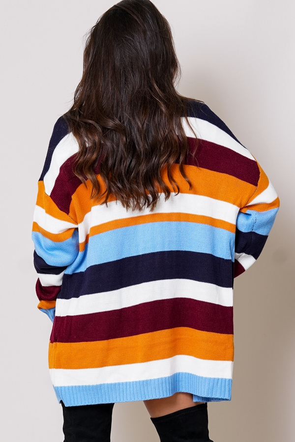 Colorful multi-striped open front long sleeve cardigan back