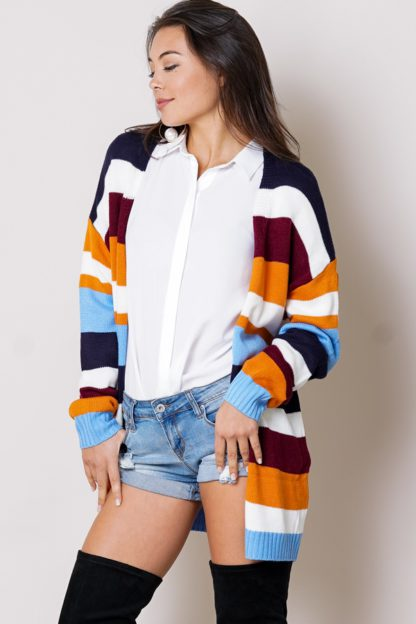 Colorful multi-striped open front long sleeve cardigan front 2