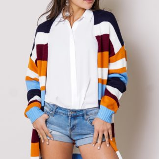 Colorful multi-striped open front long sleeve cardigan front