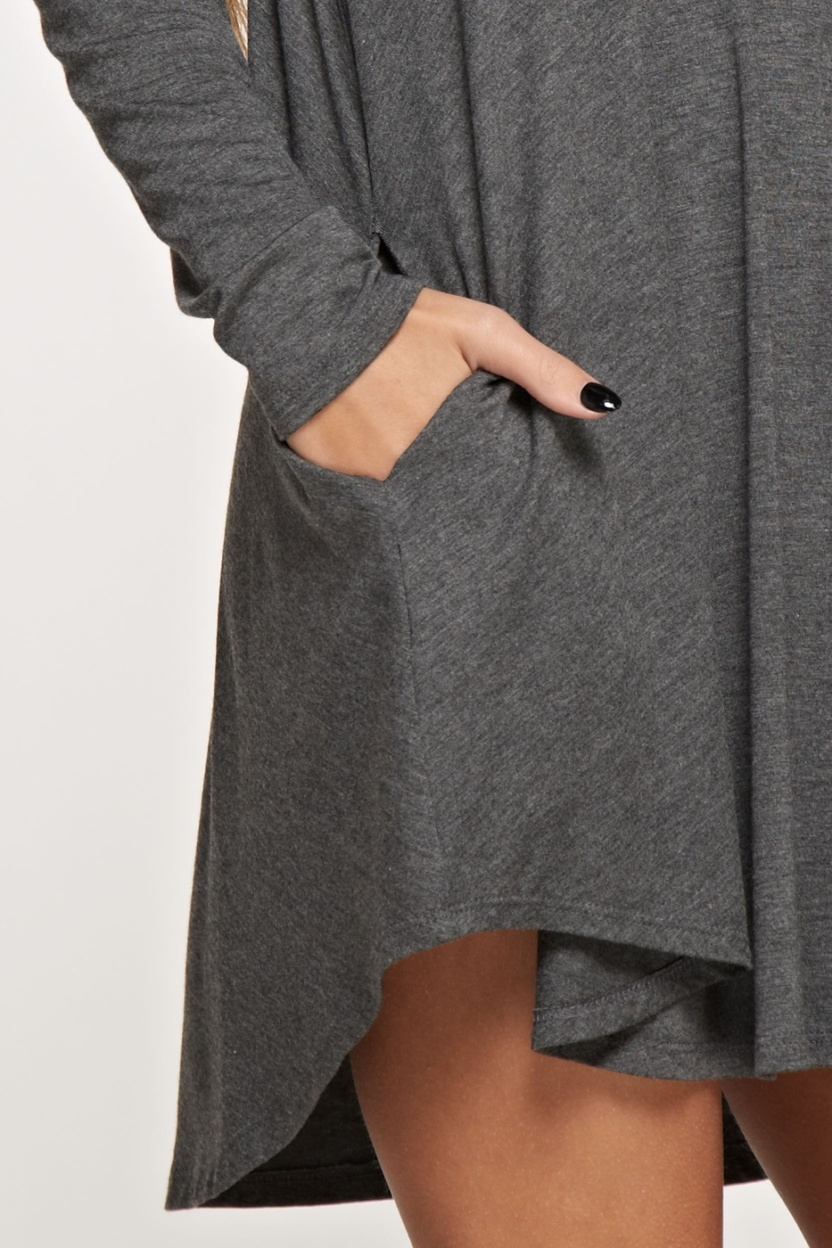 Comfy V-neck solid dress long sleeve side pocket closeup hand in pocket