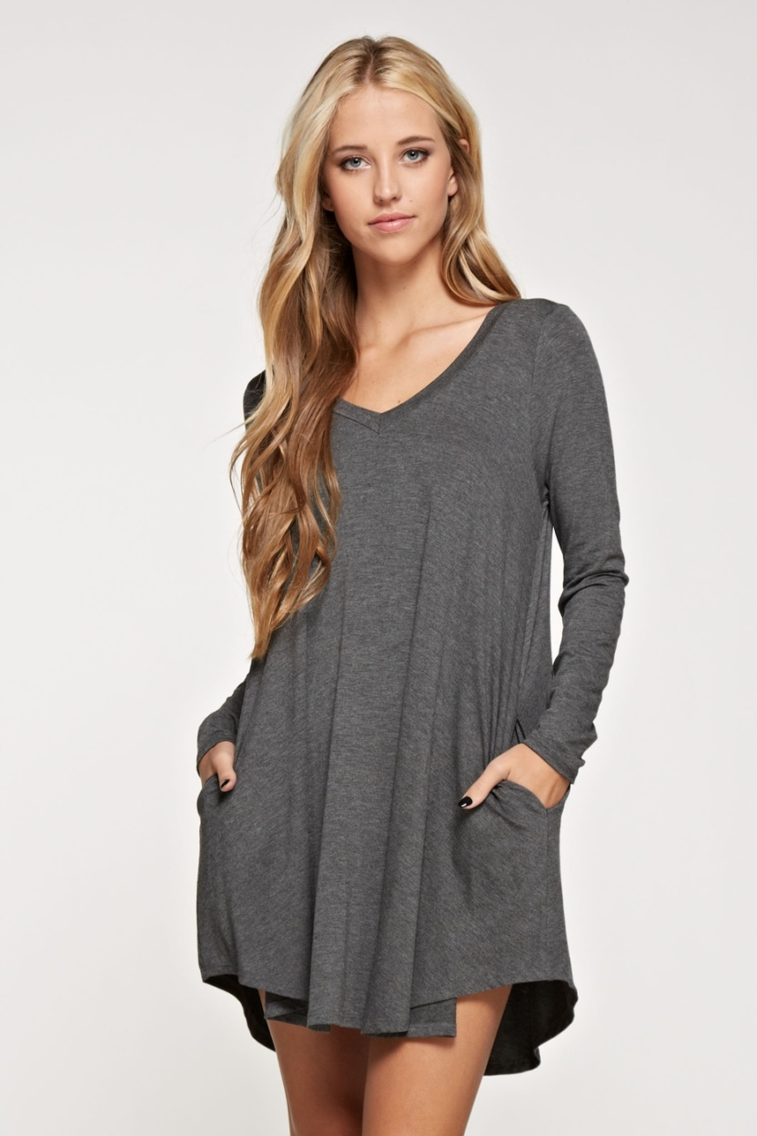 Comfy V-neck solid dress long sleeve side pocket front hands in pockets