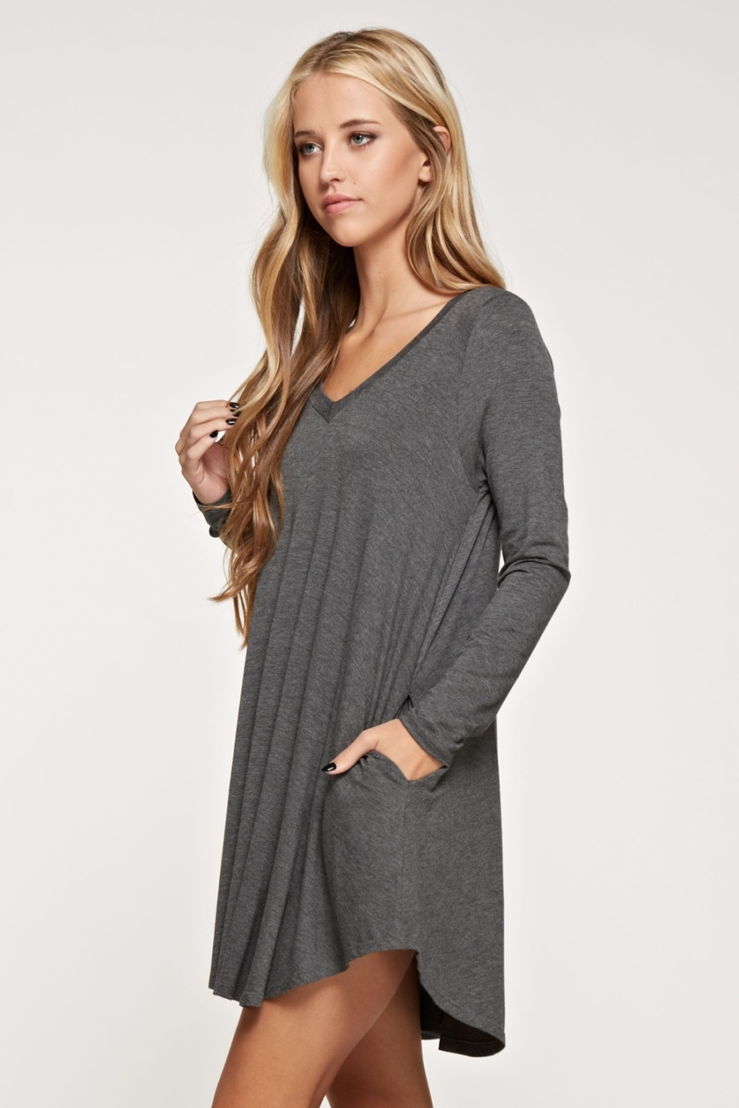 Comfy V-neck solid dress long sleeve side pocket side 2