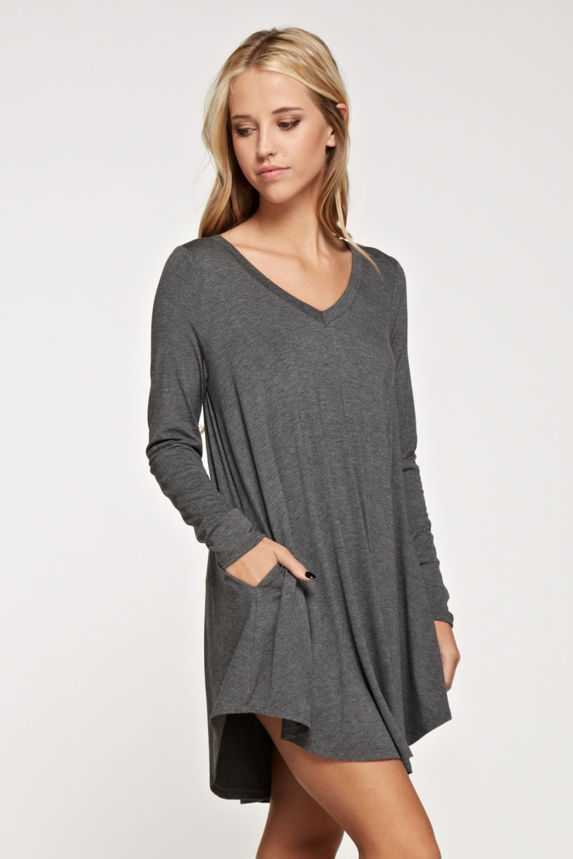 Comfy V-neck solid dress long sleeve side pocket side 4