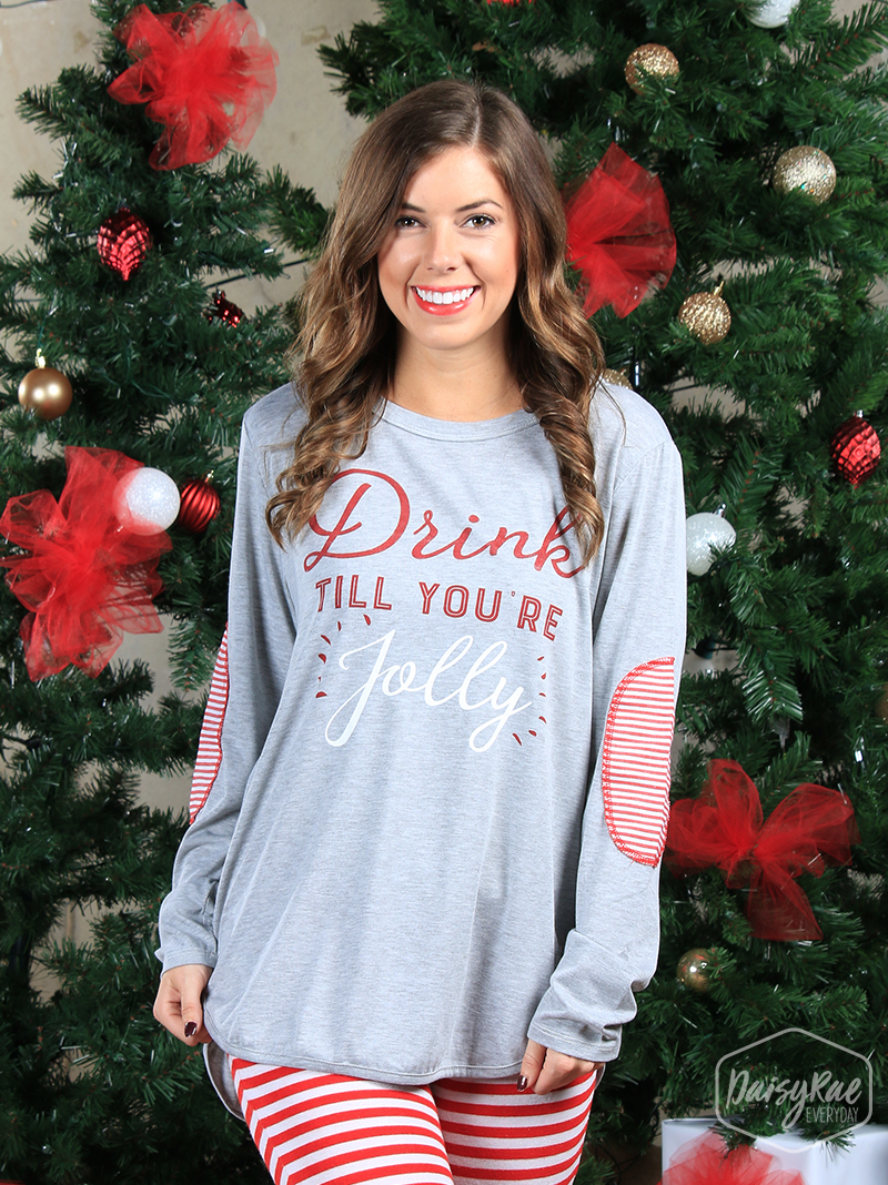 Drink till you're jolly long-sleeve t-shirt with striped elbow patches
