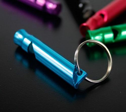 Emergency survival whistle keychain blue