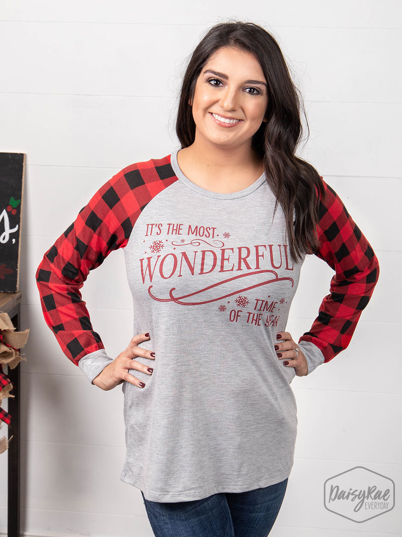 It's the most wonderful time of the  year gray sweatshirt with buffalo plaid sleeves