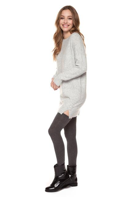 Long sleeve crew neck dress with lace-up detail side seam side