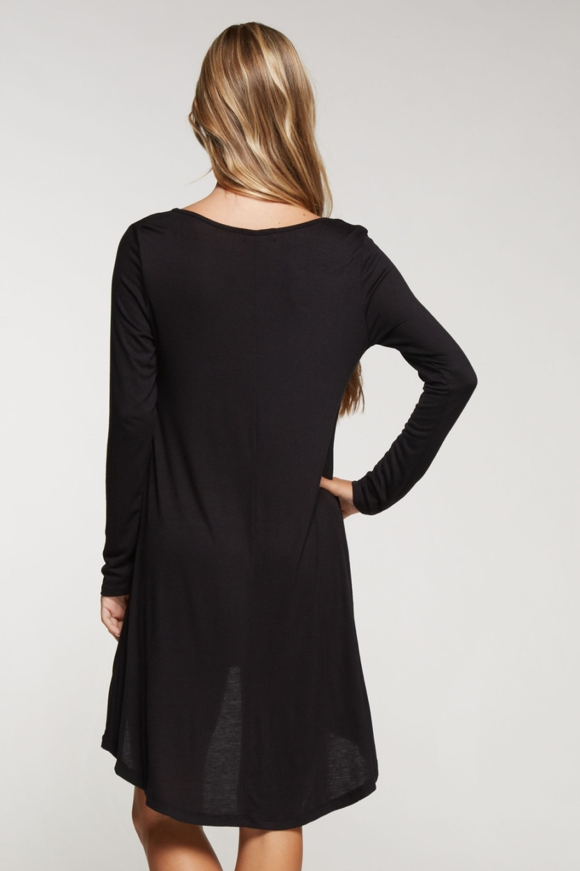 Long sleeve solid knit little black dress hi low bottom hem back