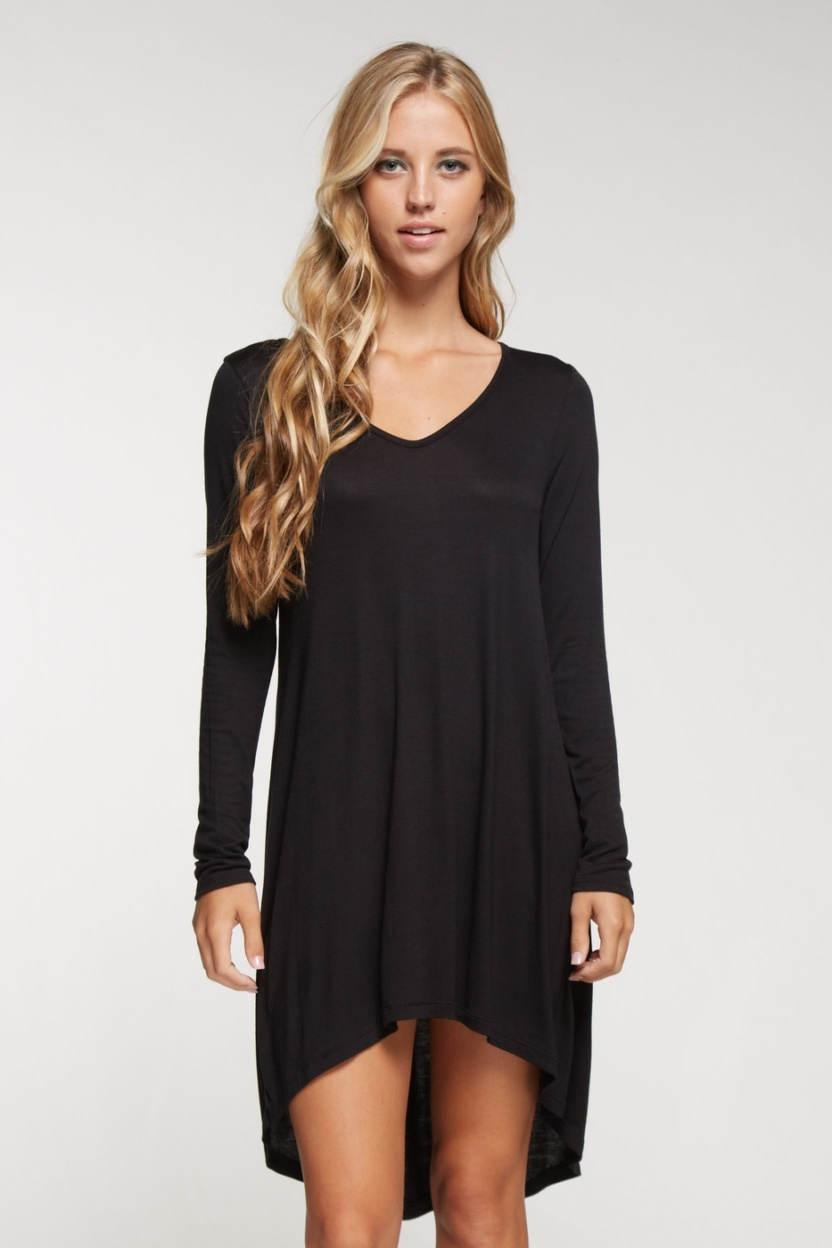 Long sleeve solid knit little black dress hi low bottom hem closeup front