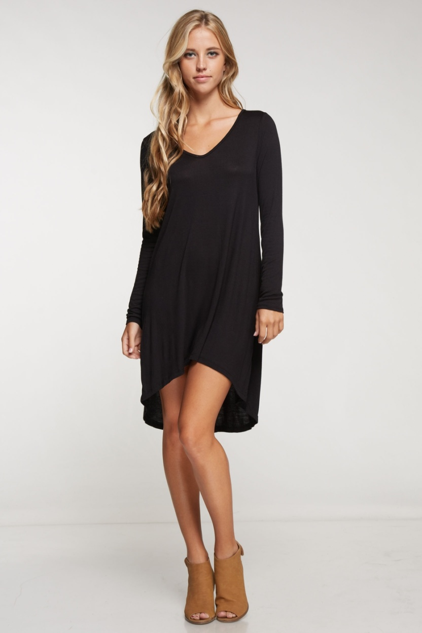 Long sleeve solid knit little black dress hi low bottom hem full front