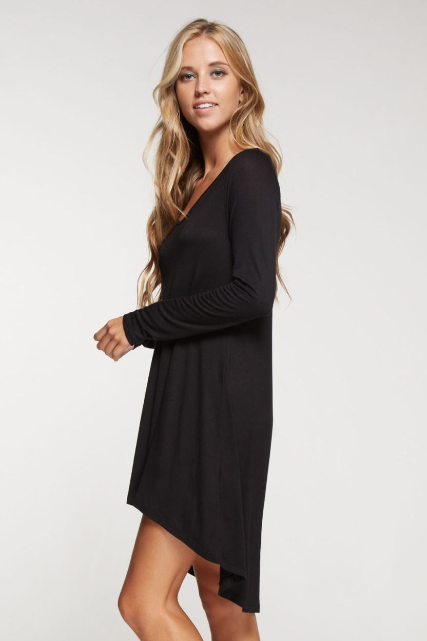 Long sleeve solid knit little black dress hi low bottom hem side