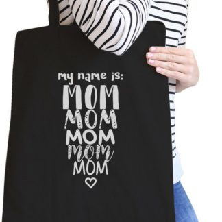 May name is Mom mom mom canvas tote bag black hanging