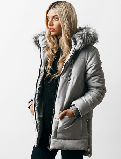 Oqena quilted parka coat with detachable fur-trim hood