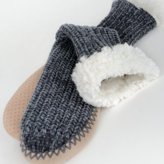 Plush soft chenille slipper sock cushioned non-slip sole micro fiber lining closeup