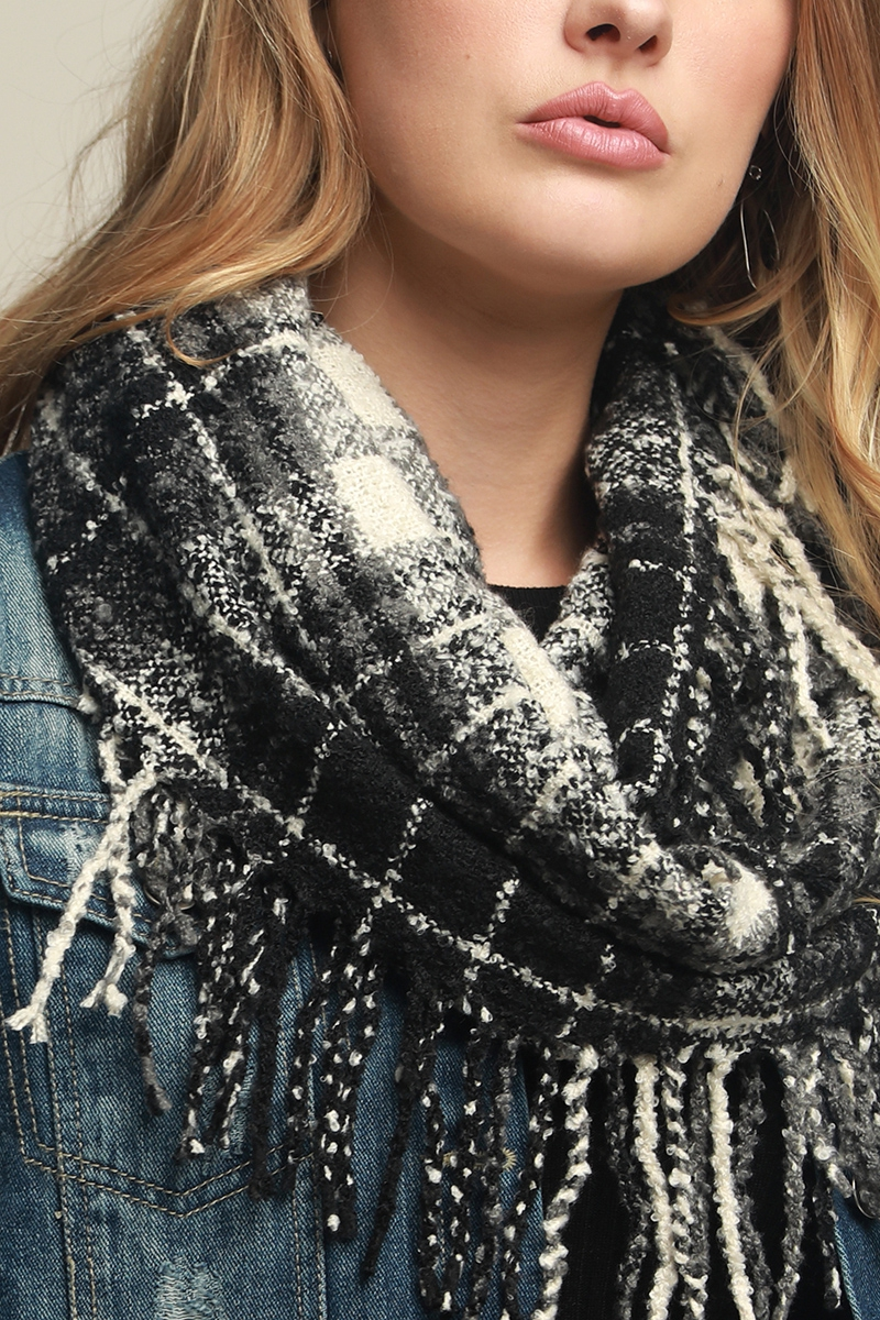 Soft casual plaid infinity knit scarf with tassels close up