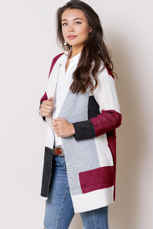 ade63443a Fashion knit color block cardigan sweater - Ivy and Pearl Online ...