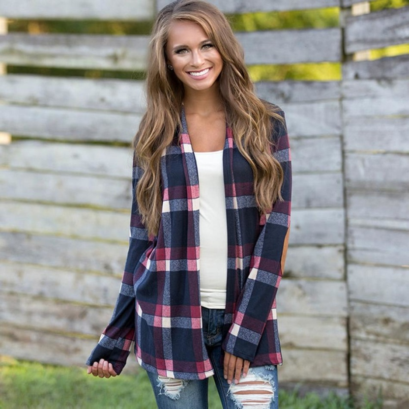 Casual plaid print kimono cardigan top with open front and elbow patch blue pink front 2
